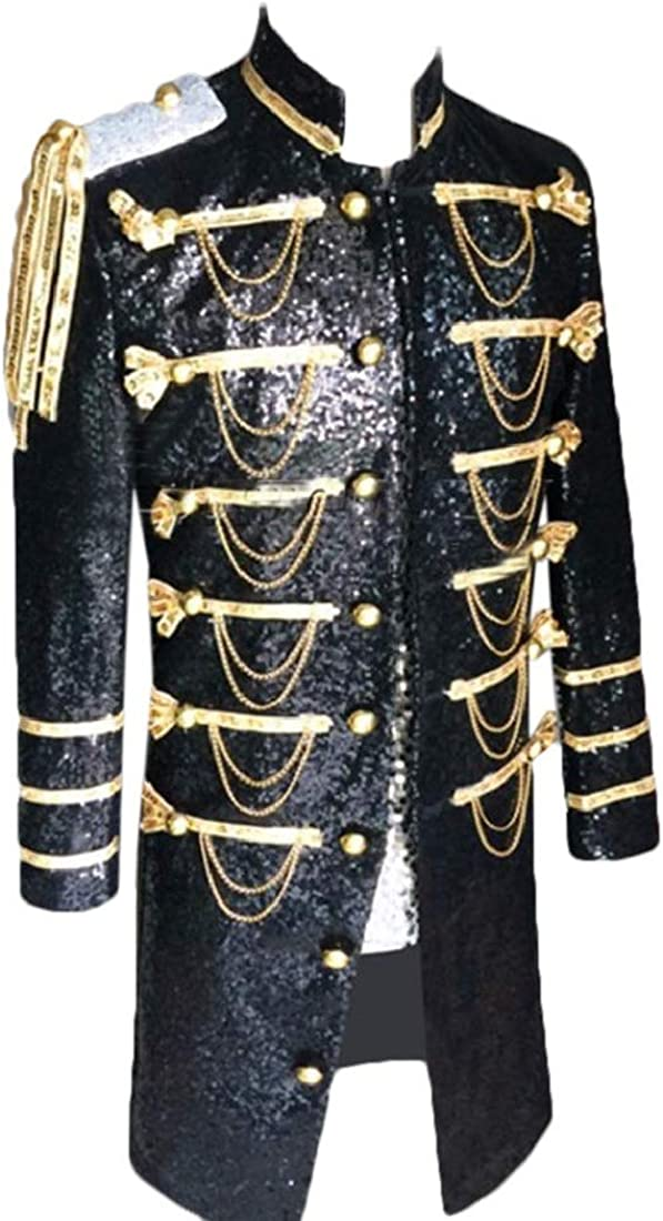 Comaba Mens Court Style Stand Collar Club Sequin Glitter Tuxedo Blazer Coat