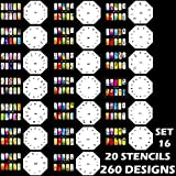 Custom Body Art Airbrush Nail Stencils - Design Series Set # 16 Includes 20 Individual Nail Templates with 13 Designs each for a total of 260 Designs of Series #16