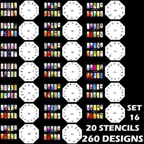Custom Body Art Airbrush Nail Stencils - Design Series Set # 16 Includes 20 Individual Nail Templates with 13 Designs each for a total of 260 Designs of Series #16 by Custom Body Art
