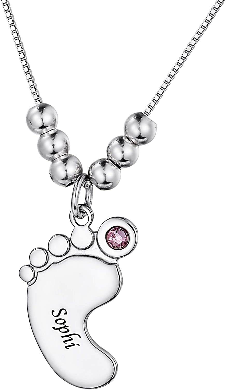 YF Collar personalizado S925 pies de bebé collar personalizado 1-3 nombre colgante con piedra natal para mamá