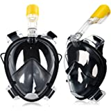 Underwater Full Face Snorkel Mask 180° Panoramic View Anti-Fog Anti-Leak with Secure Fit and longer Snorkeling Tube for easy breathing GoPro Compatible Snorkelling Mask Large