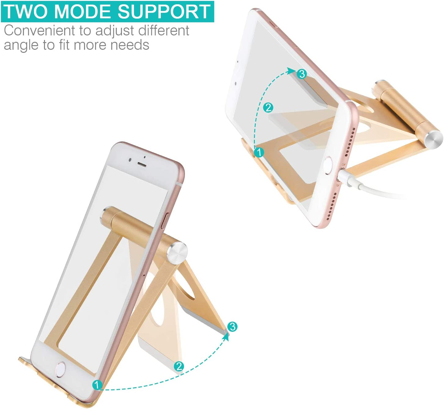 - Gold Universal Aluminium Stand for Cellphones and Tablets 4-11 Portable Phone Stand: Full 360/° Adjustable Cell Phone Holder Cradle Dock for Phone Xs XR X 8 7 6 6S Plus Cell Phone Stand