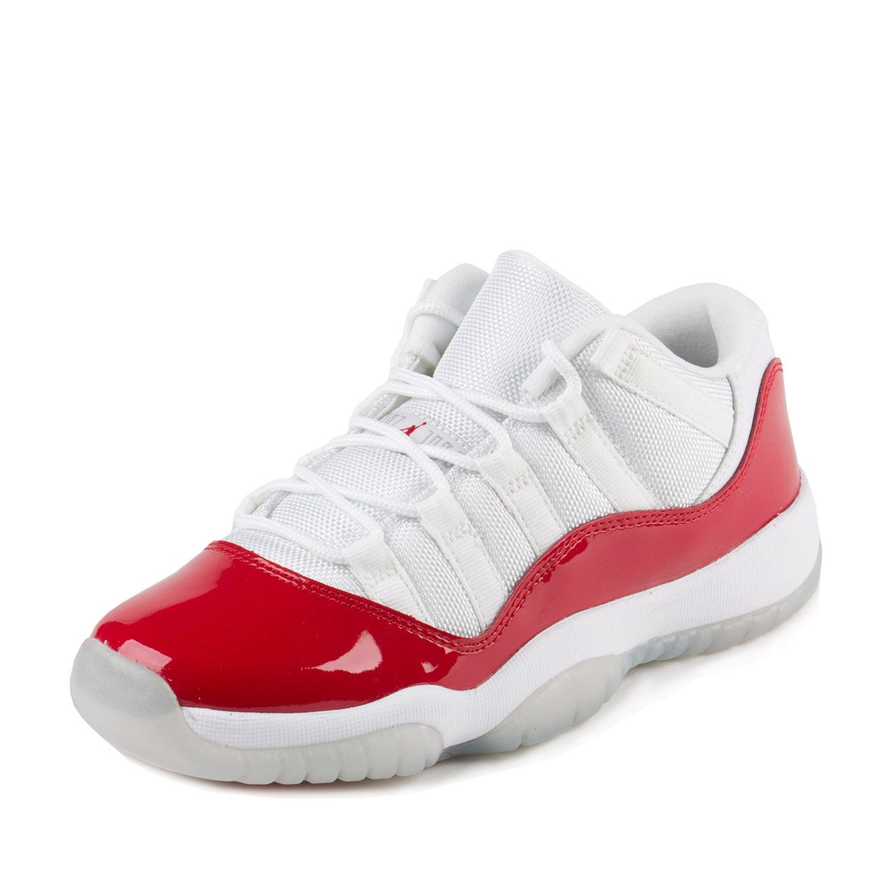 Jordan Nike Boys Air 11 Retro Low BG White/Varsity Red-Black Leather Size 6.5Y by Jordan
