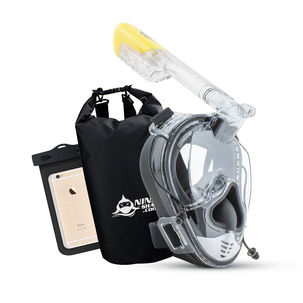 Ninja Shark Snorkel Mask Full Face Set - Upgraded Unique face Feature - Adjustable Head Straps - Anti-Fog & Anti-Leak - 180 Degrees Panoramic View - Detachable Camera Mount - Designed by Divers by Ninja Shark