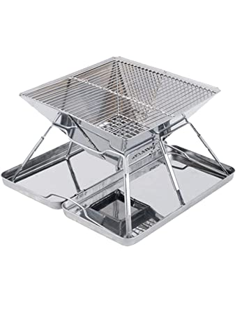 Menschwear Stainless Steel Camp Grill 12.2 Folded Compact Charcoal BBQ Grill Stainless Steel for Camping Picnics 31cm