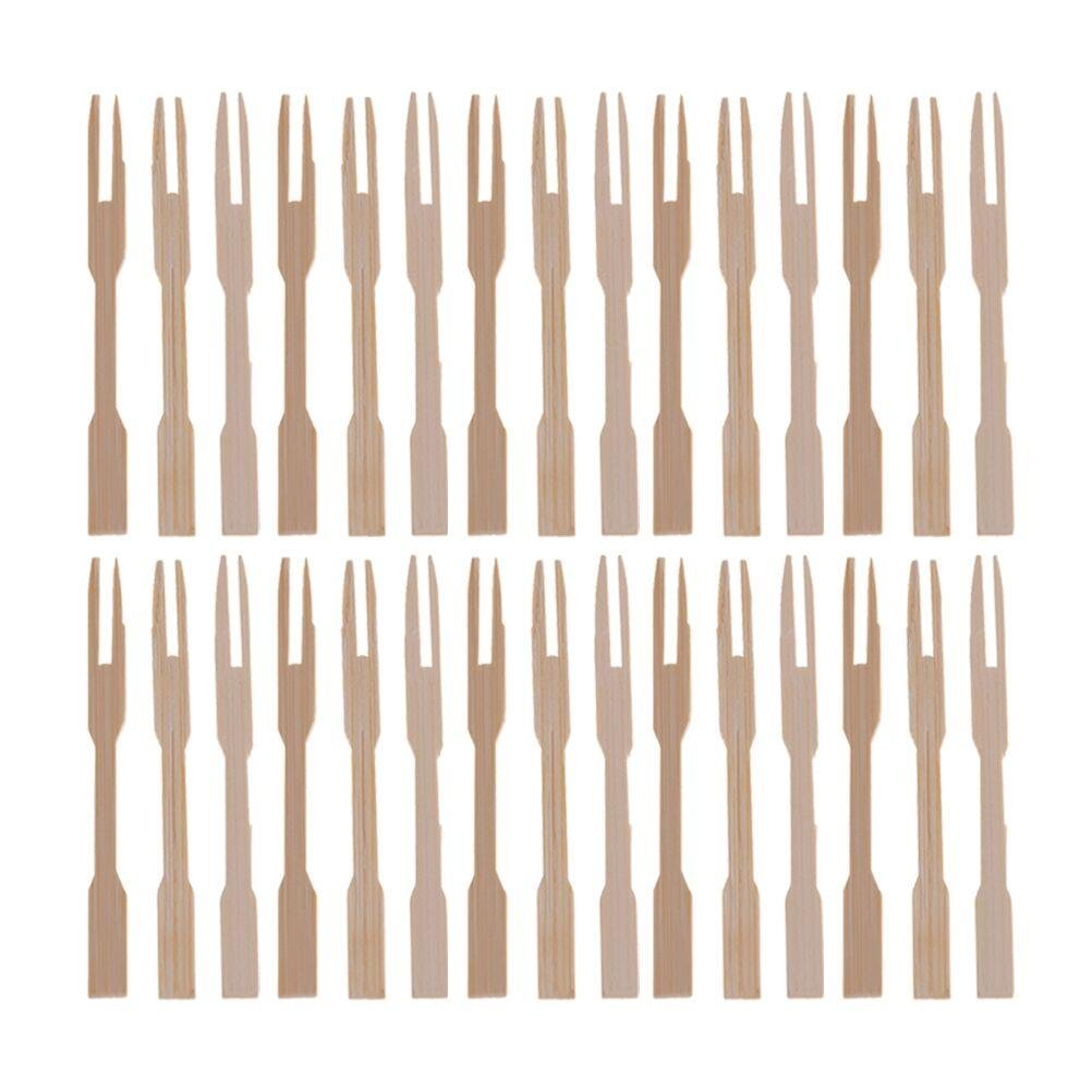 LIGONG 100 Pieces Wooden Cocktail Picks,Bamboo Paddle Skewers Roasting Sticks Forks for Fruit BBQ Party Supplies