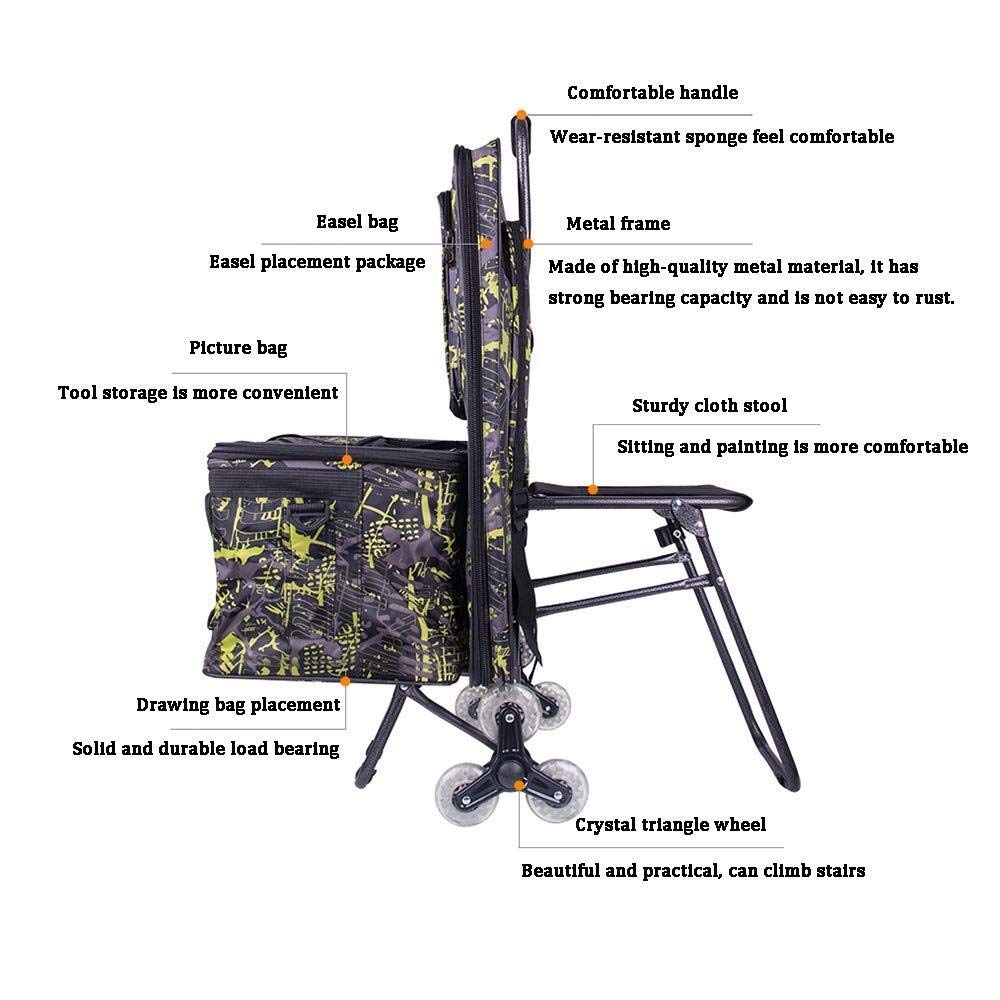 Bag Trolley Painting Tool Cart Color : A Artist Combination Portable Folding Art Cart Multi-Function Waterproof Painting Board Four-Wheel Crystal Wheel Can Climb Stairs