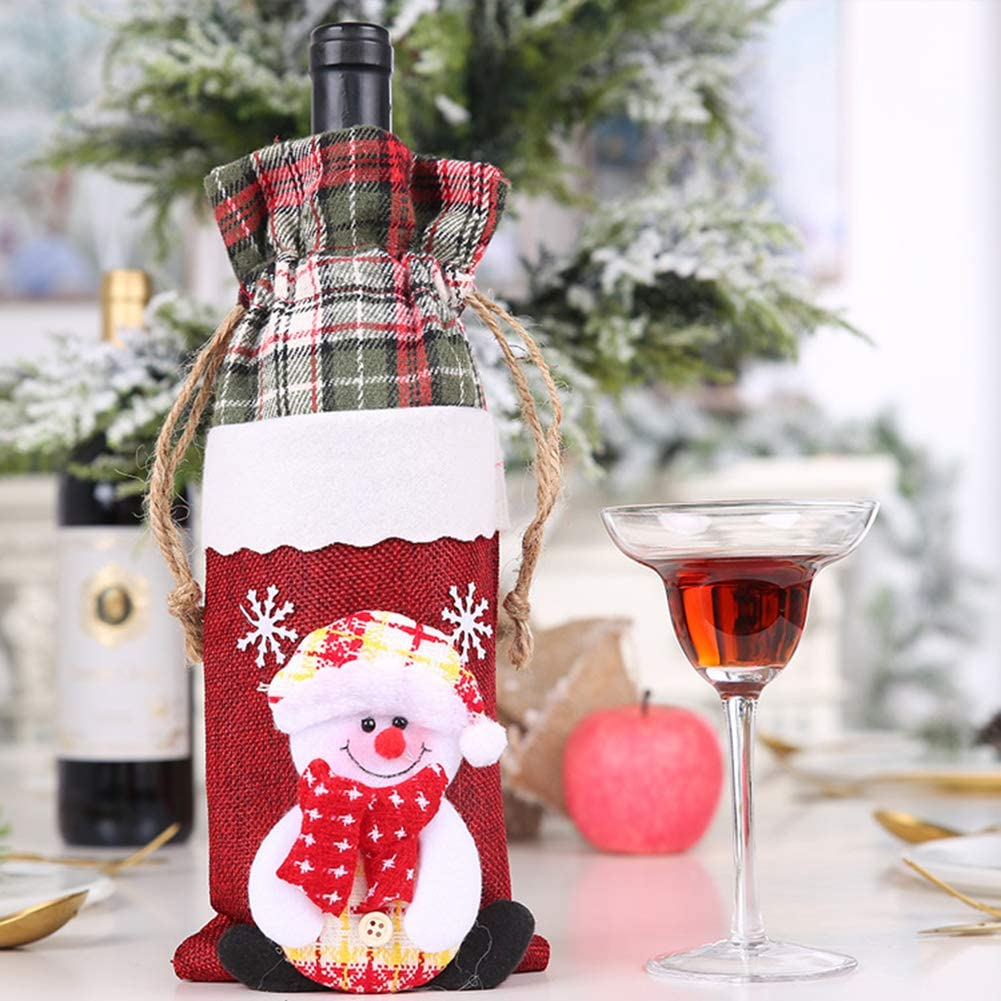 Xmas Party Table Gift Storage Pouch Bear# helegeSONG Merry Christmas Wine Bottle Cover Decoration Christmas Santa Snowman Elk Print Wine Bottle Cover Bag