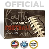 'Faith Family Football Friends Fun' 18 x 12 Wood Wall Art by Marla Rae - Man Cave Football Decor