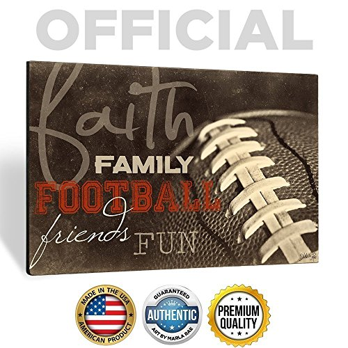 'Faith Family Football Friends Fun' 18 x 12 Wood Wall (Gray Rugby Shorts)