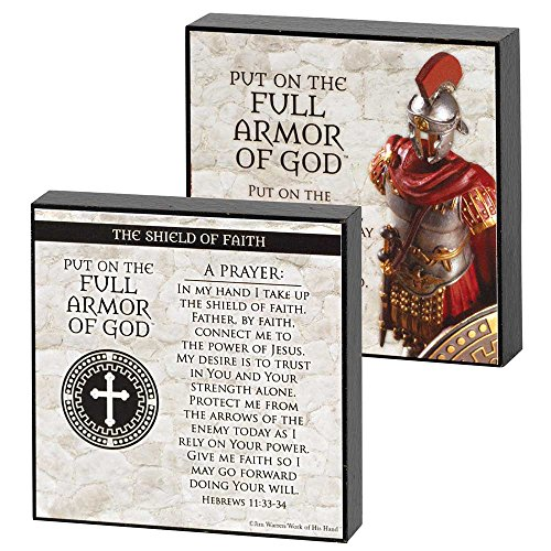 Armor Of God Shield Of Faith Marble Gray 4 x 4 Wood Double Sided Plaque by Dicksons
