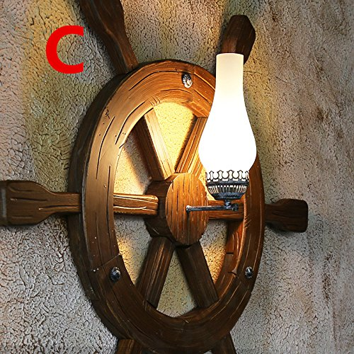 Archaize Originality Solid Wood Wall Lamp Mediterranean Anchor Rudder Retro Wall Light For Restaurant Coffee House 940940Mm,C Outdoor Kids Living Room Bedroom Wedding Birthday Party Gift by GAW Lighting Co.Ltd (Image #3)