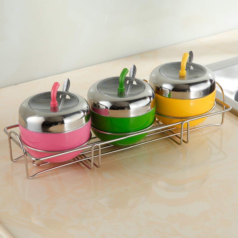 Ogquaton Tanque de condimento de Acero Inoxidable Caja de condimento Almacenamiento de condimentos Tanque a Prueba de Humedad Forma de Manzana Creativa Tanque de condimento Visible 1 Pieza Plata