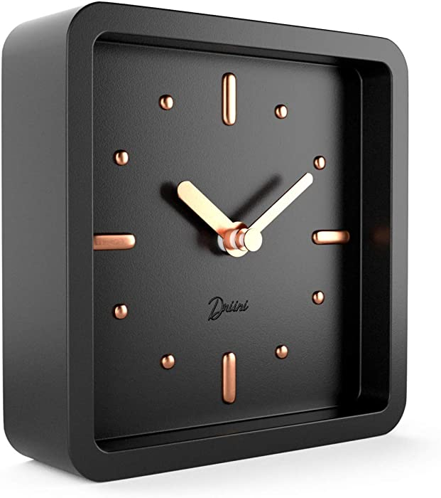 Driini Modern Mid Century Desk and Table Analog Clock (Black Rose Gold) - Battery Operated with Silent Sweep Movement – Small Square Desktop Clocks for Mantel, Nightstand, Office, or Bedrooms.