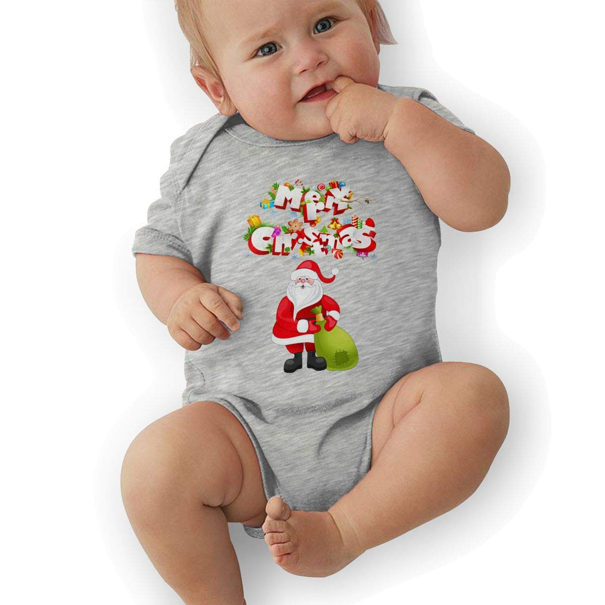 Infant Baby Girls Bodysuit Short-Sleeve Onesie Santa Claus Print Jumpsuit Summer Pajamas