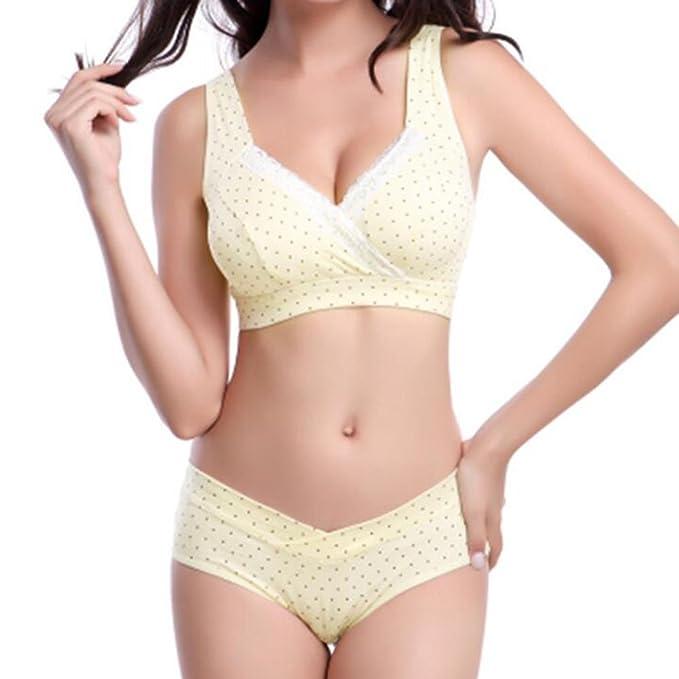 Sujetador de Maternidad Yying Bra Underwear Womens Bra+Briefs Braguitas de lactancia amarillo 34/