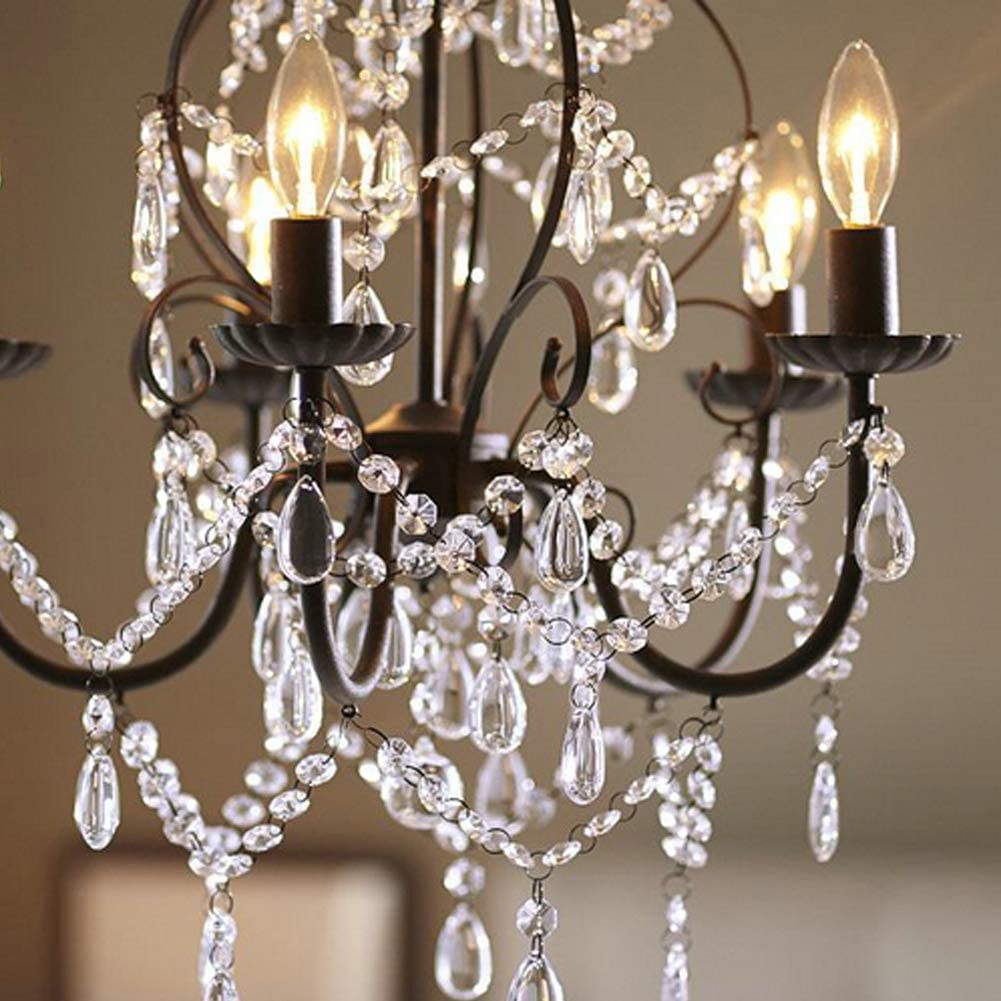 Aero Snail 5 Light Candle Chandelier Country Painting Crystal Lighting Fixture