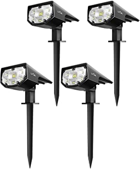 4-Pack Litom 12 LEDs Solar Landscape Spotlights