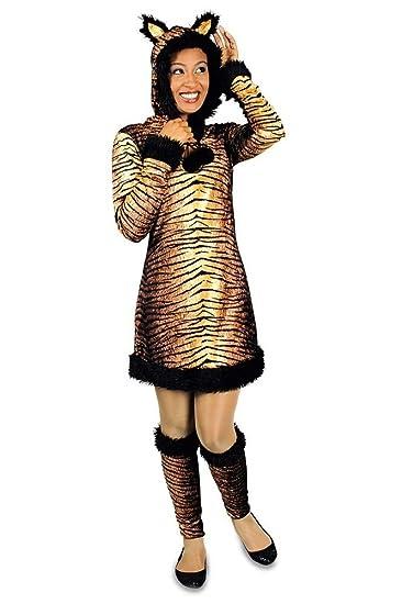 Tigerkleid Mit Kapuze Karneval Fasching Kostum Tiger Damen Gr 34 36