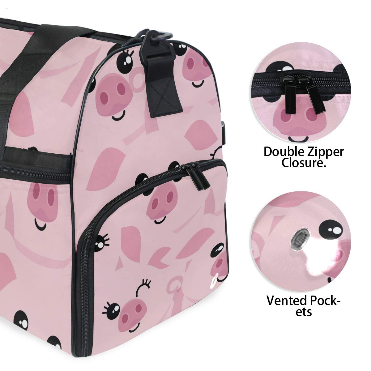 Gym Vacation Travel Duffle Bag Cute Pink Pigs Heads Waterproof Lightweight Luggage bag for Sports