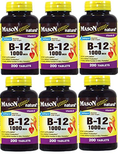 Mason Vitamins B-12 1000Mcg Sublingual Cyanocobalamin Tablets, 200-Count Bottles Pack of 6 by Mason Vitamins