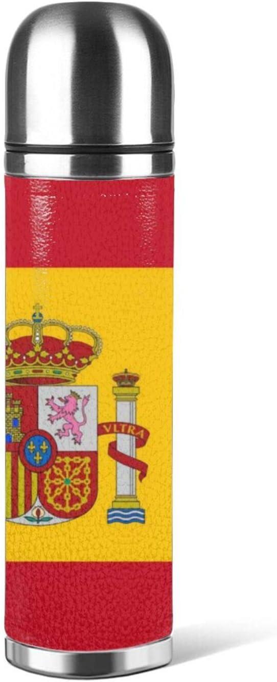Botella de agua de acero inoxidable Bandera de España aislado de cuero al vacío prueba de fugas doble pared envase embalaje termo 500 ml