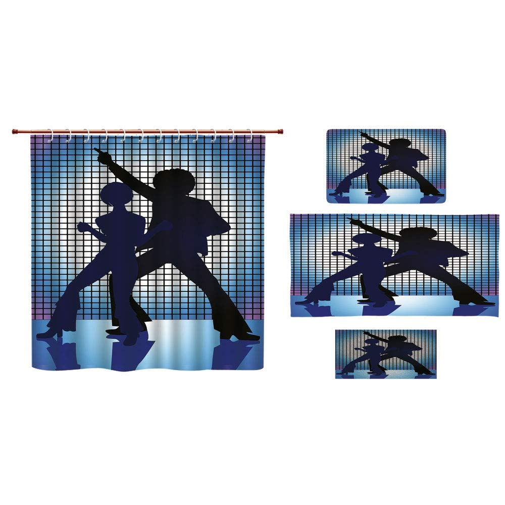 iPrint Bathroom 4 Piece Set Shower Curtain Floor mat Bath Towel 3D Print,Silhouettes on The Dance Floor Night Life Oldies,Fashion Personality Customization adds Color to Your Bathroom.