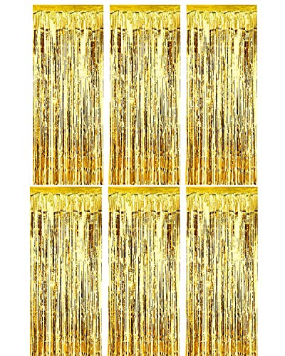 Deruicc 6 Pack Gold Foil Curtains 3ft x 8ft Tinsel Fringe Curtains Shimmer Curtain Birthday Wedding Party Christmas Photo Booth Backdrop Decorations (Gold, 6)