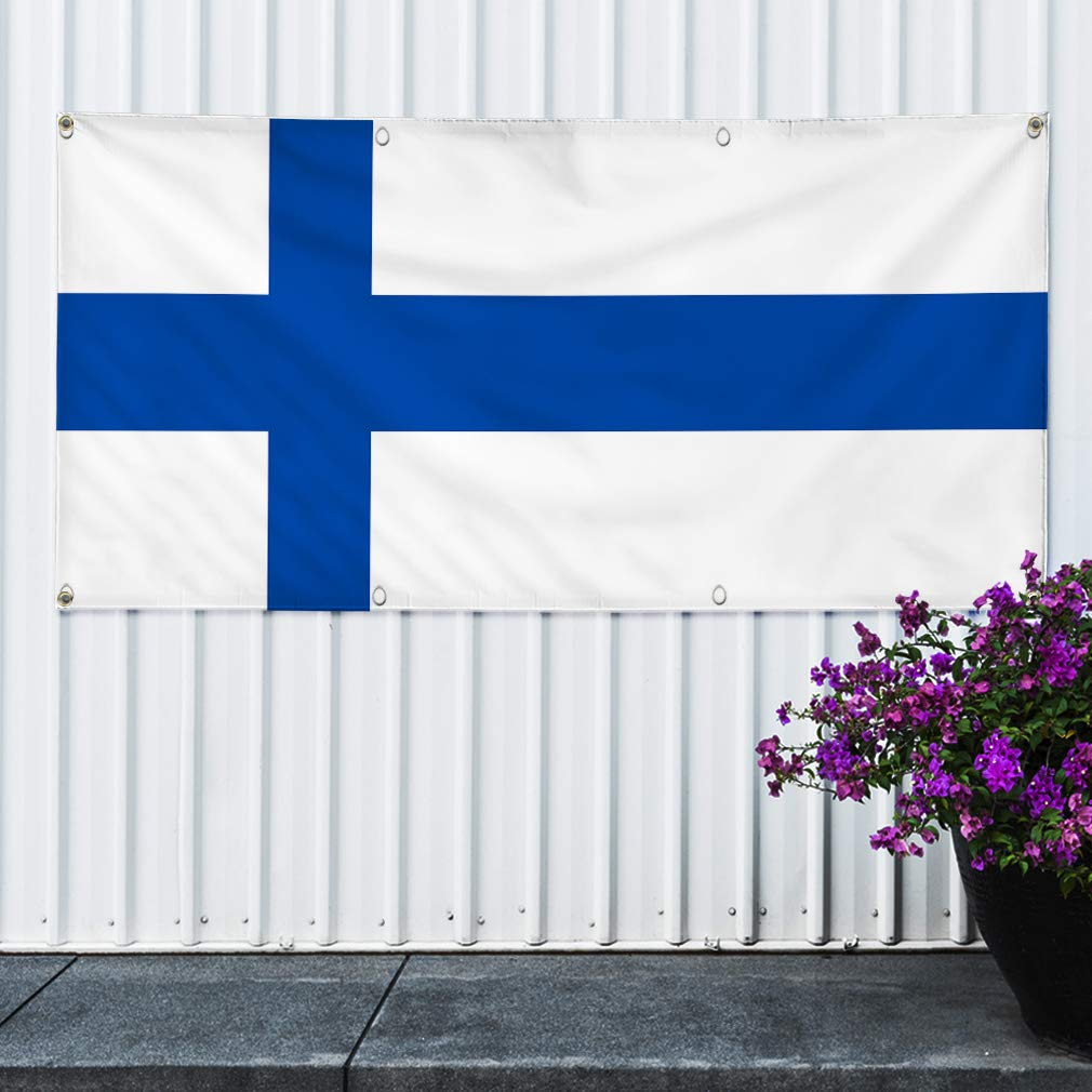 Multiple Sizes Available Vinyl Banner Sign Finland White Blue Countries Finlad Flag Marketing Advertising White 32inx80in Set of 2 6 Grommets