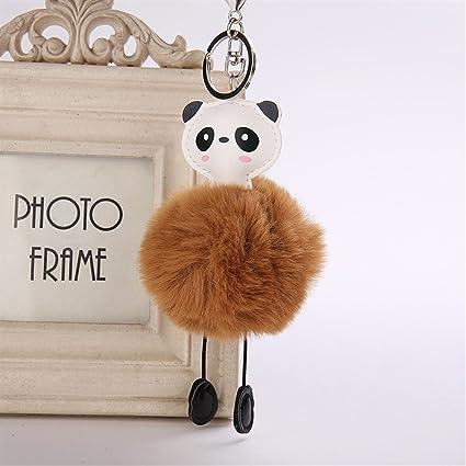 Adorno de Moda Cuero de la PU Panda Plush Ball Llavero ...