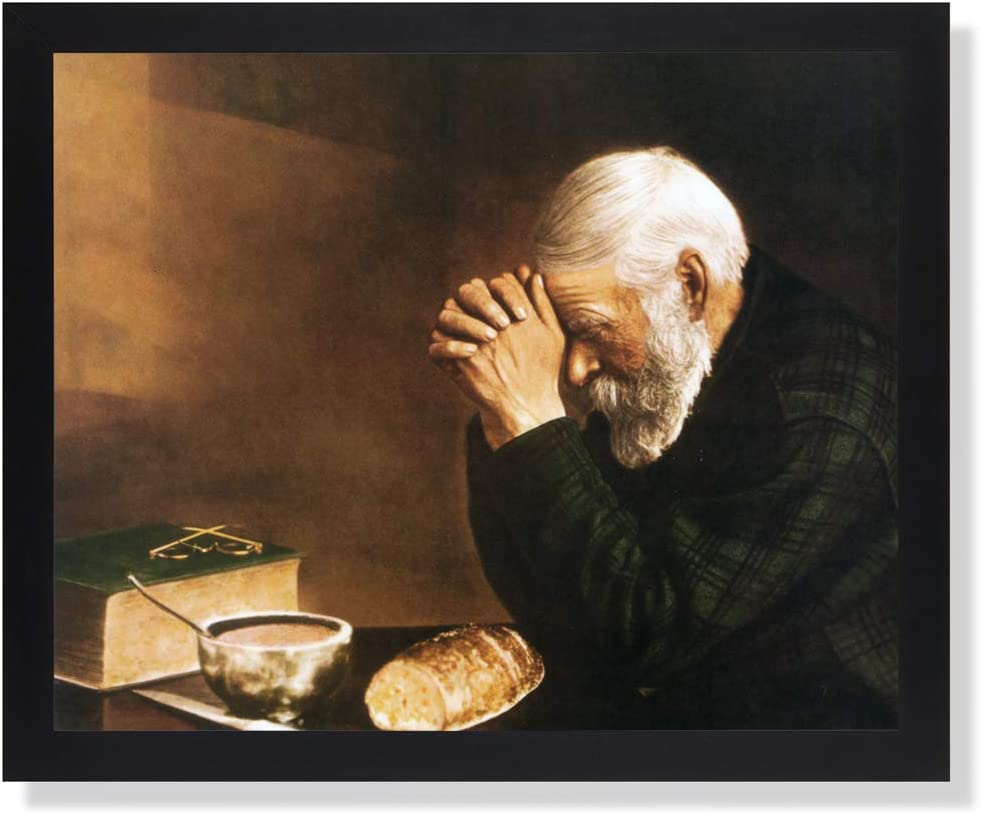 Art Prints Inc Daily Bread Man Praying at Dinner Table Grace Religious Wall Picture 16x20 Lustrous Black Frame