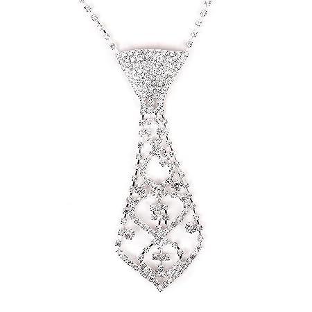 Pixnor – Mujeres boda novia brillantes corbata compresa Collar ...