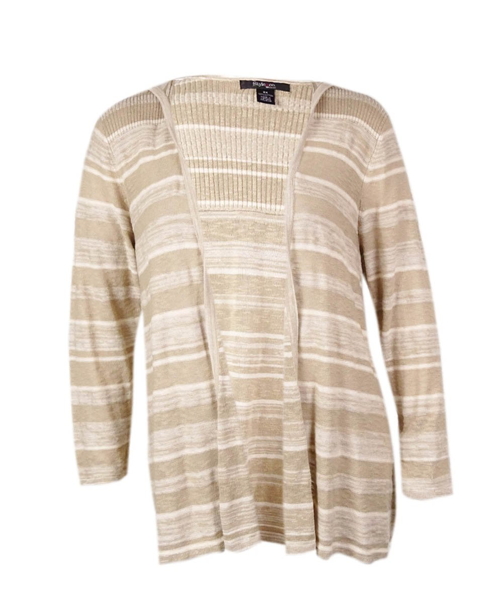 Style & Co. Women's Striped Hooded Cotton Cardigan (PM, Neutral Combo)