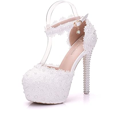 Amazon new white pearl high heels lace flower sandals womens amazon new white pearl high heels lace flower sandals womens wedding shoes platform heeled sandals mightylinksfo