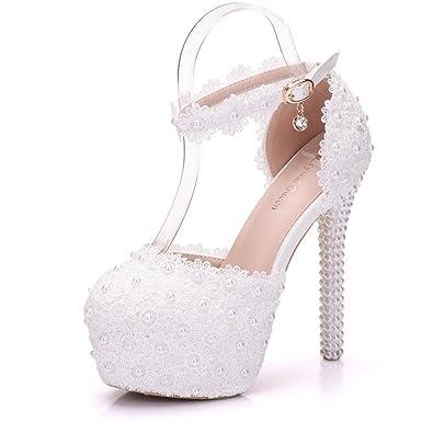 4f0c015fdb59f Amazon.com | New White Pearl high Heels Lace Flower Sandals Women's ...