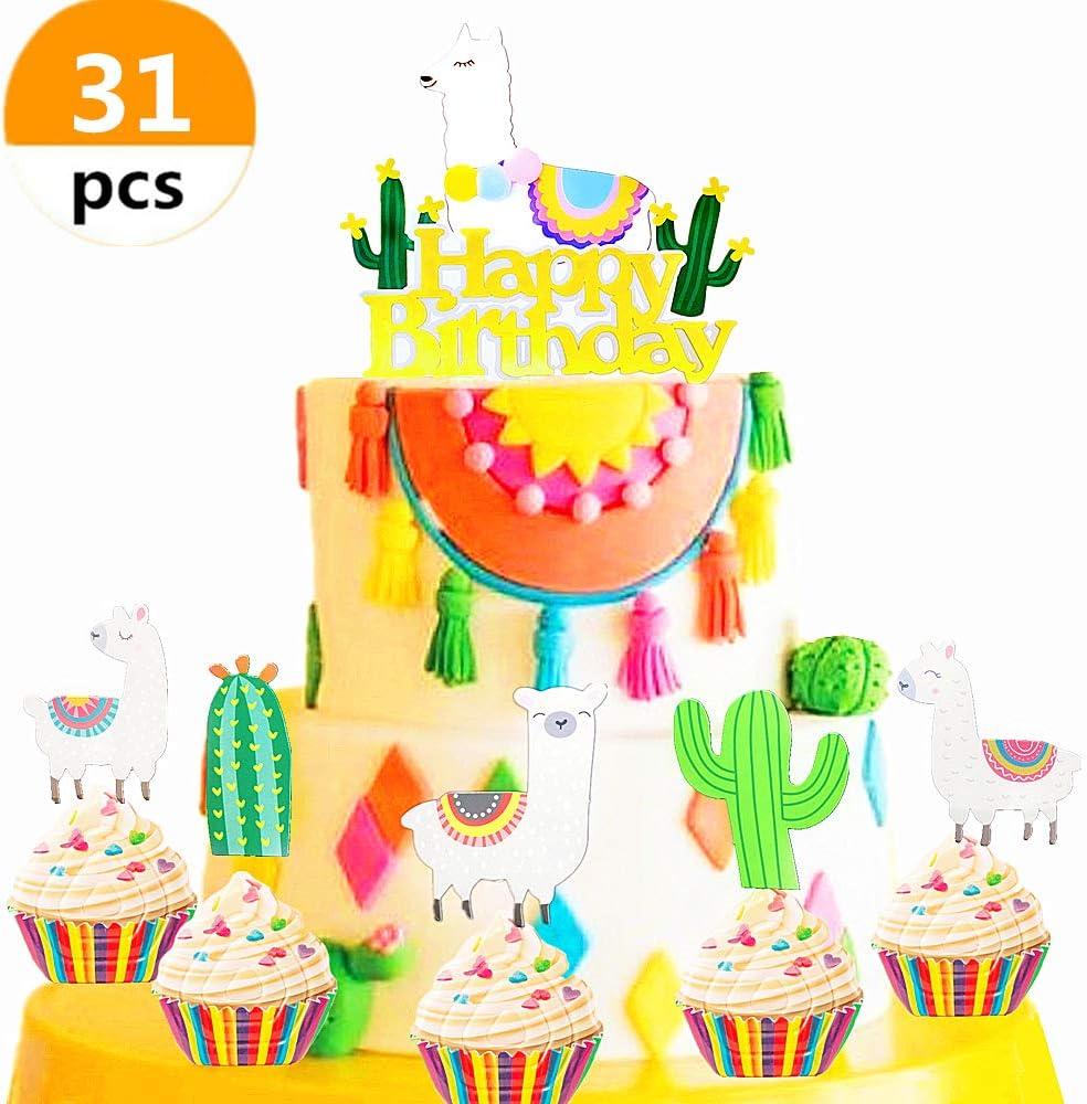 Excellent Amazon Com Jevenis 31 Pcs Birthday Llama And Cactus Cupcake Funny Birthday Cards Online Elaedamsfinfo