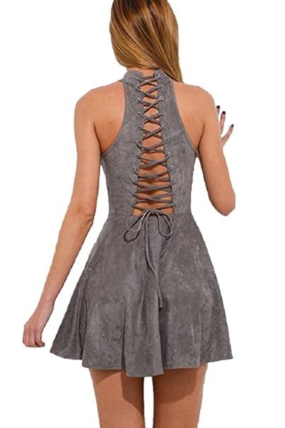 Jevenis Women Sexy Dress Suede Plunge Lace Detail Bodycon Dress Party Club Mini Dress