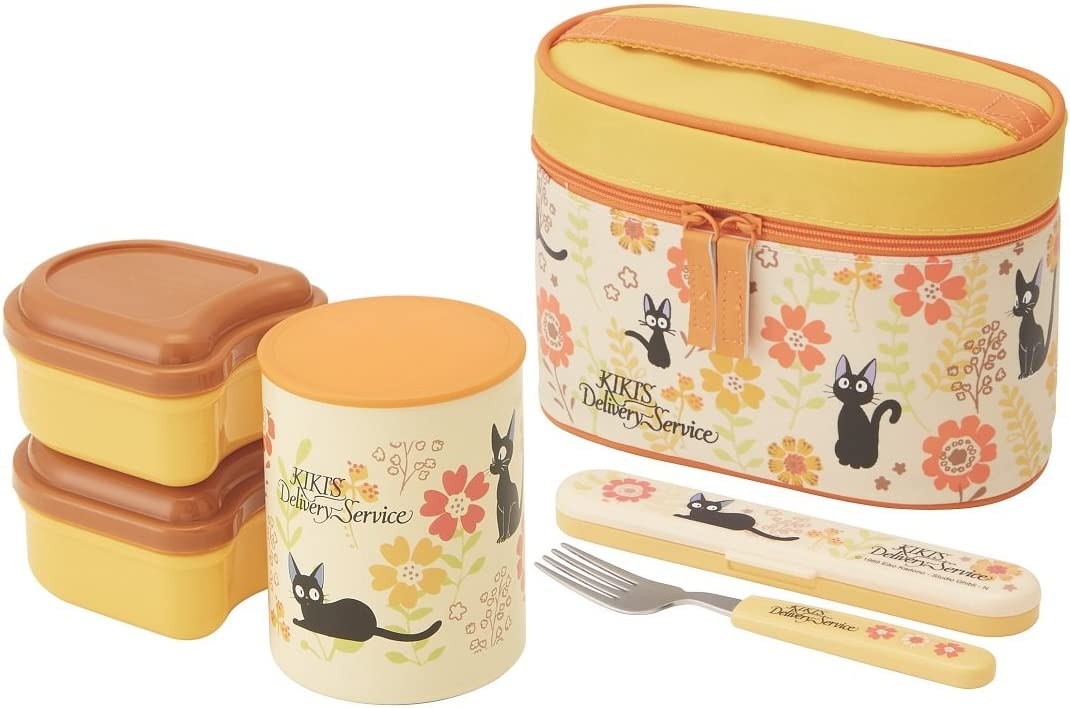 Kiki Delivery Service Thermal Lunch Box Set Jiji & Gerbera (Food Containers, Fork and Bag)