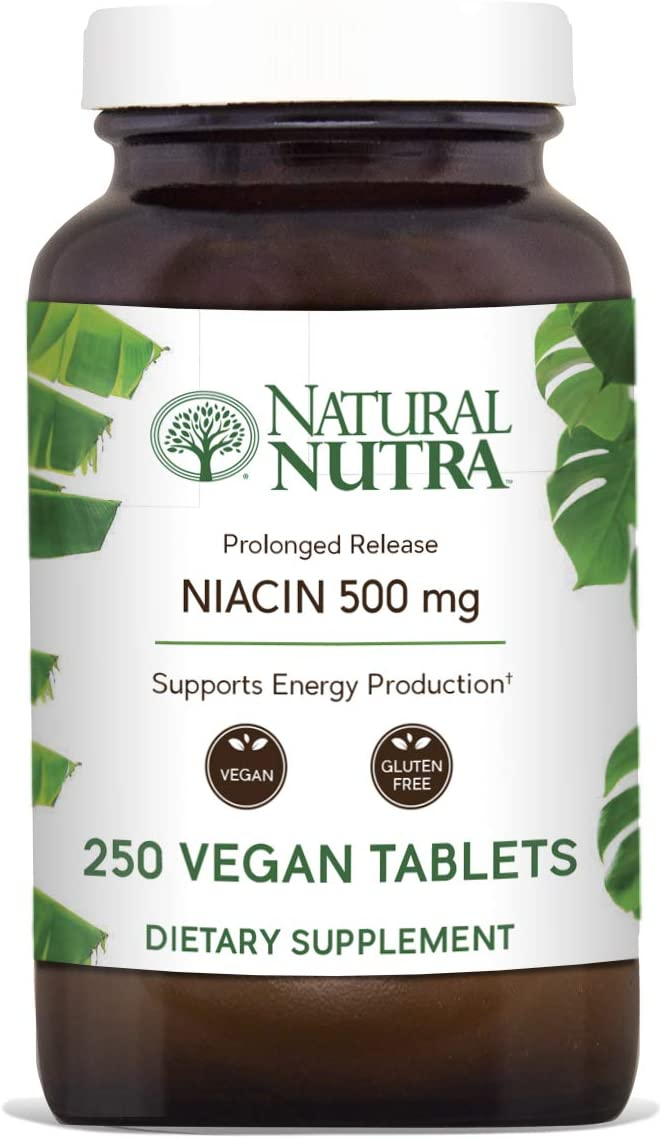Natural Nutra Time-Release Niacin 500mg Vitamin B3 with Nicotinic Acid, Cholesterol Supplement, 250 Vegan and Vegetarian Tablets