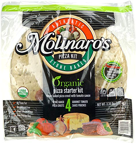 - Molinaro's Organic Pizza Starter Kit - 4 Stone Baked Pizza Crusts and 4 Gourmet Tomato Sauce Pouches