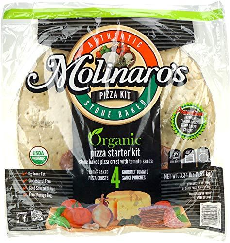 Molinaro's Organic Pizza Starter Kit - 4 Stone Baked Pizza Crusts and 4 Gourmet Tomato Sauce - Organic Kit Starter