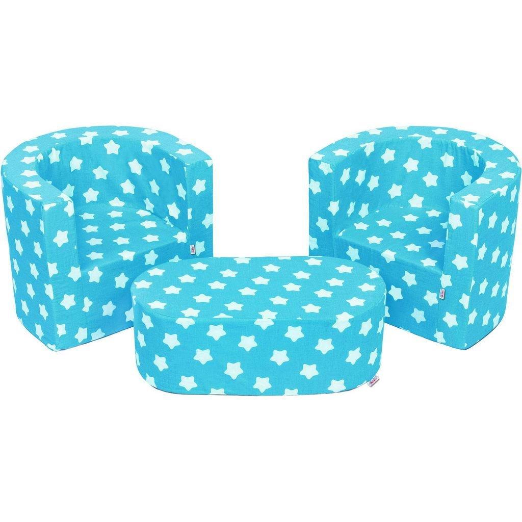 MuseHouse Kindermöbel 2 Sessel und pouffe Faltbarer Kinderzimmerset Weiches Leichtes Zwei Stühle und Tisch Einstellen 3 Stück für Schlafzimmer Wohnzimmer (Blau)