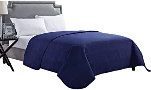 HollyHOME Luxury Checkered Super Soft Solid Single Pinsonic Quilted Bed Quilt Bedspread Bed Cover, Blue, Twin
