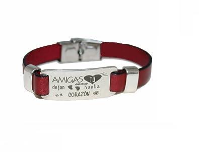 249a928d9c3a Pulsera plata de ley con correa en piel roja- Amigas como tú dejan huella  en el corazón  Amazon.es  Joyería