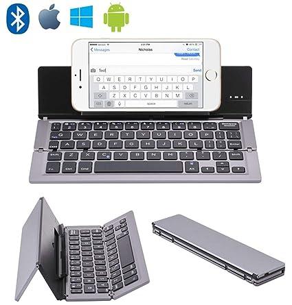 JPXIA Teclado Plegable portátil Ultrafino, inalámbrico, de Aluminio con Soporte para Soporte para iPhone