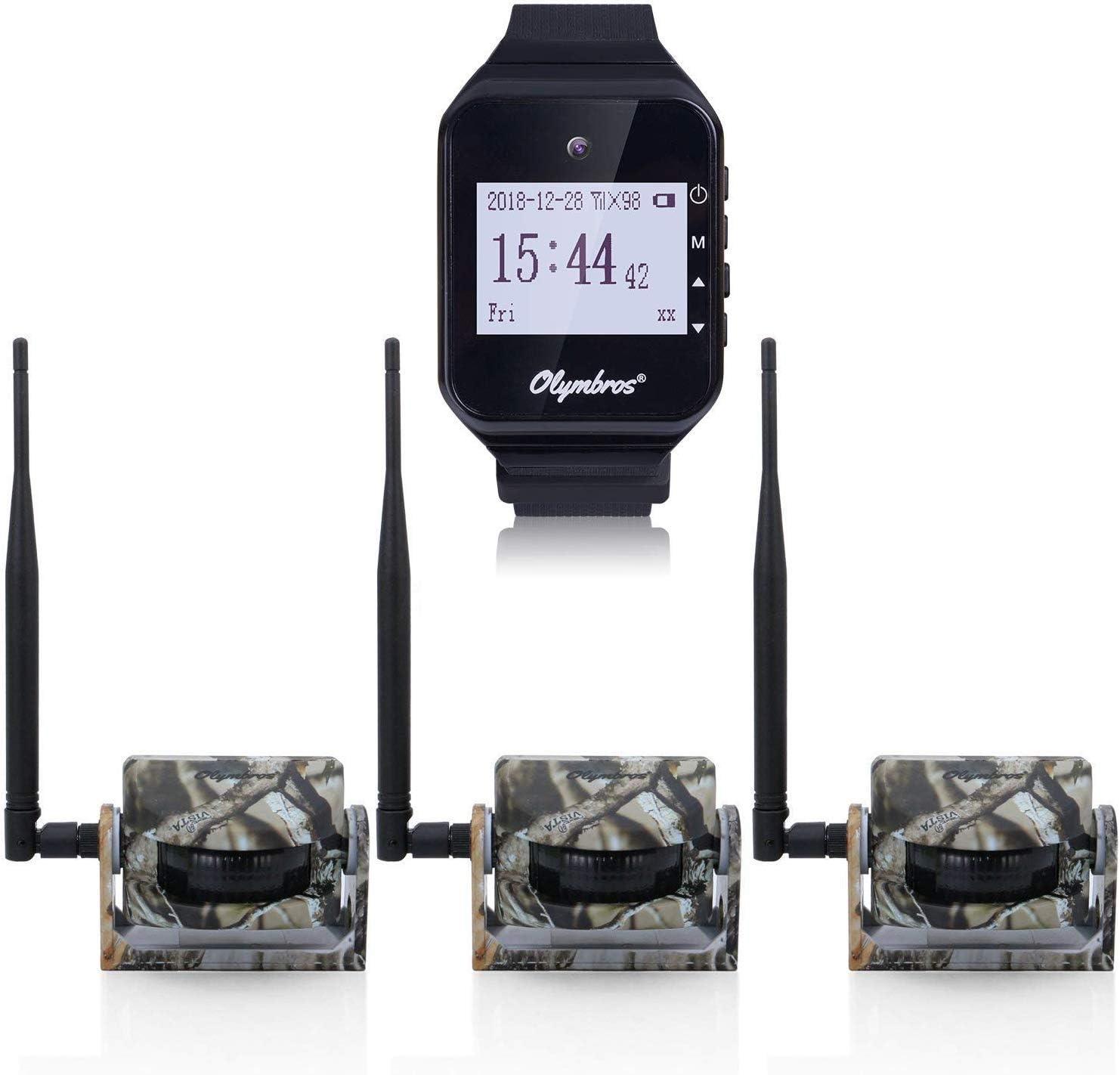 Olymbros Sensores Para Caza Con Alarma en Reloj Alcance Hasta 200m 3 Detectores de Movimiento Con Sonido y Vibración Seguimiento de Animales Alarma IP54