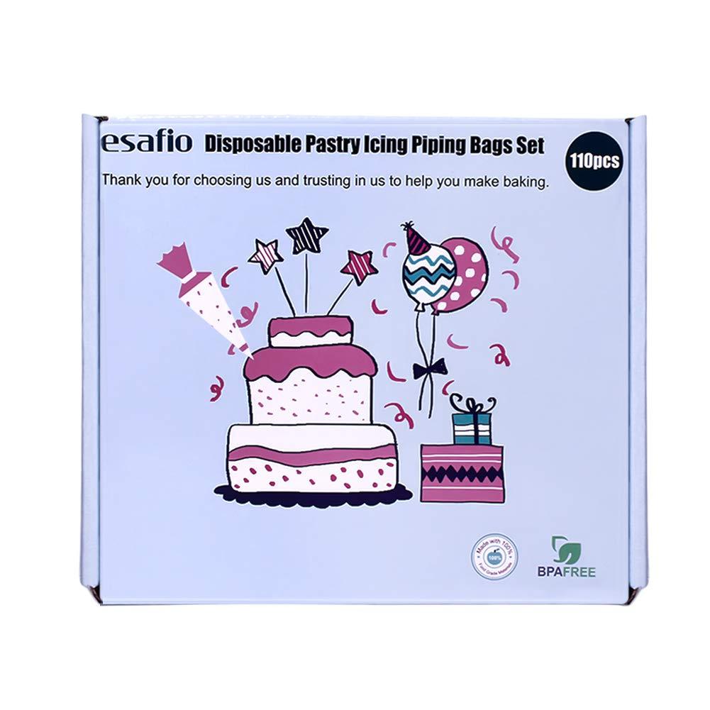 Amazon.com: esafio 100 Pieces Pastry Piping Bags Disposable ...
