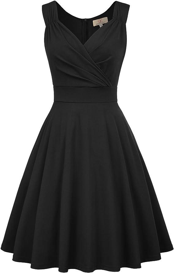 50s Dresses UK | 1950s Dresses, Shoes & Clothing Shops GRACE KARIN Women 50s Vintage Sleeveless V-Neck A-Line Swing Party Cocktail Dress CL698 £25.99 AT vintagedancer.com