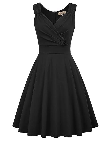 81733cdb2b7b6 GRACE KARIN Women's 50s 60s Vintage Sleeveless V-Neck Cocktail Swing Dress