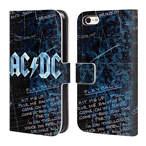Officiel AC/DC ACDC Paroles Logo Étui Coque De Livre En Cuir Pour Apple iPhone 5c